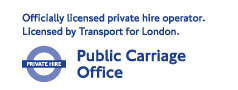 Officially licensed private hire operator. Licensed by Transport for London. Public Carriage Office.